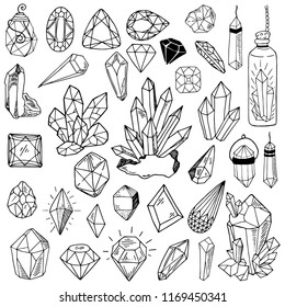 Set of black and white crystals and hand drawing stones, black outline on white background, esoteric, vector illustration