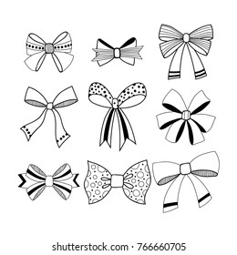 Set of black and white, decorative bows. Ribbons and decorations for gifts. Vector