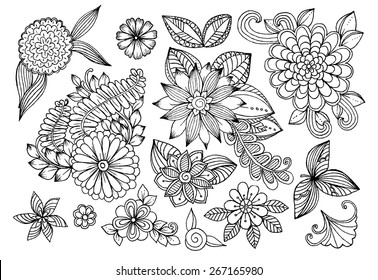 Set of black and white doodle flowers. Set of floral design elements.