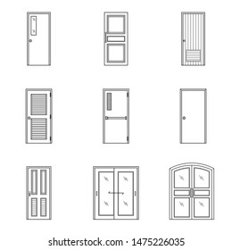 Set of black and white doors icon.Interior design linear signs for home, vector illustration