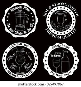 Set of black and white drinks badges on black background vector illustration