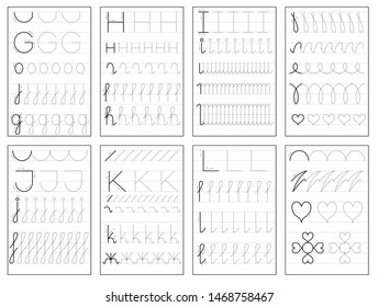 Set of black and white educational pages on line for kids book. Trace alphabet letters from G to L. Printable worksheet for children textbook. Developing skills of writing. Back to school.