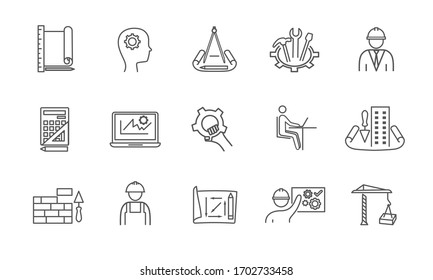 Set of black and white engineering, design and construction line icons. Vector illustraion