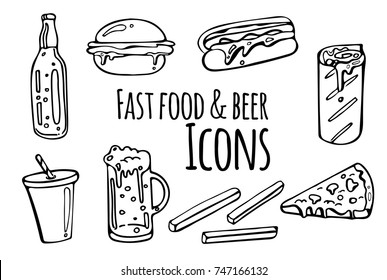 Set of black and white fast food and beer sketched icons. Collection of hand drawn stickers with street food meal. Design elements for logo, menu, ads, promo poster or banner.