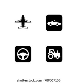 Set of black and white flat icons for travel. Transparent background.