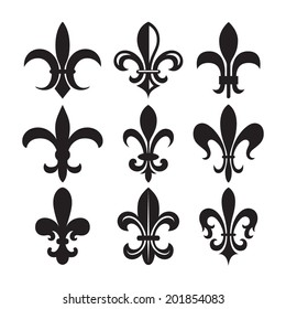 Set of black and white Fleur-de-lys symbols
