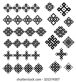 A set of of black and white geometric designs 3. Vector illustration.