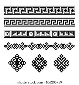 A set of black and white geometric designs 8. Vector illustration.