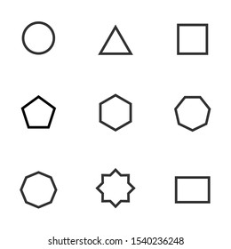 Set of black and white geometric shape. Simple geometric figures icon collection. Linear icon flat style, vector illustration