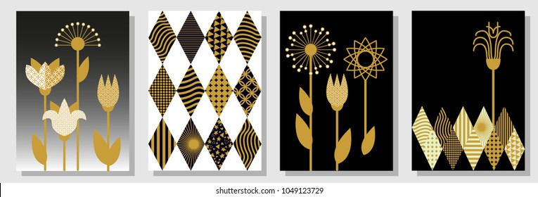 Set of black, white and golden A4 covers. Rhombus pattern, background with geometric elements, abstract spring flowers. Template for cards, banners, posters. New minimalism design.