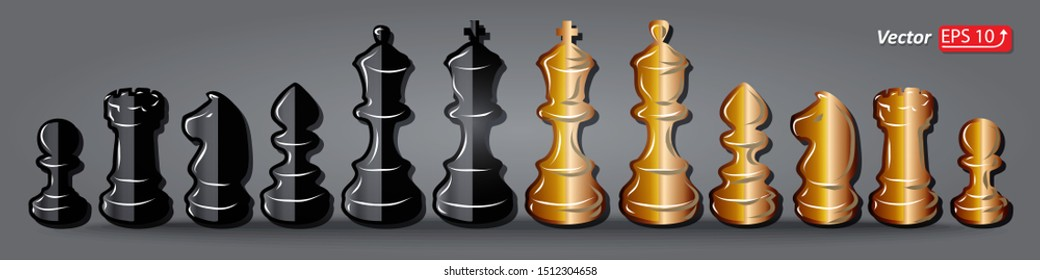 Set black and white golden  chess pieces , chess figure , king. queen, bishop, knight , pawn, rook isolated on grey background vector illustration