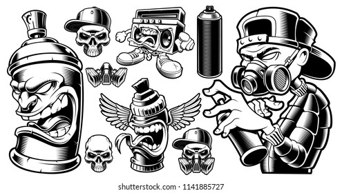 Set of black and white graffiti characters and design elements, logos, stickers on the white background.