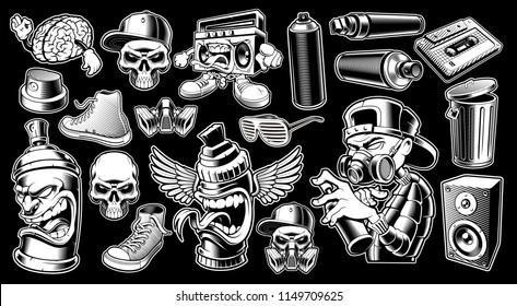 Set of black and white graffiti stickers, logos, badges, shirt designs on dark background.