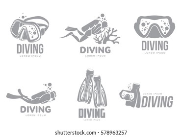 Set of black and white graphic diving logo templates with divers, mask, flippers, vector illustration isolated on white background. Graphic scuba diving, snorkeling logotype, logo design