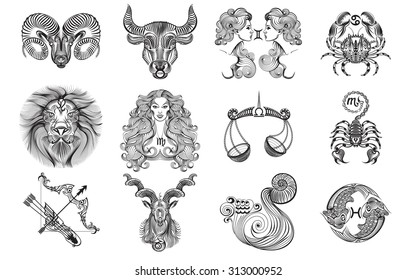Set of black and white graphic signs of the Zodiac