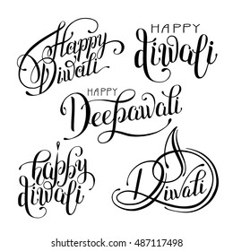 set of black and white hand drawing design element lettering inscription for Diwali celebration - indian fire festival collection, vector illustration