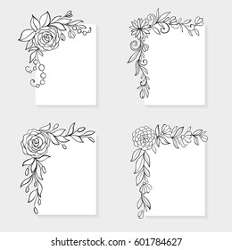 Set of black and white hand drawn corner floral borders. design for holiday greeting card and invitation of the Easter, wedding, mother day, birthday, Valentine's day and other seasonal holiday