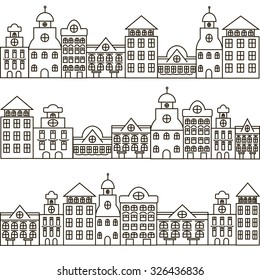Set of black and white houses in old European style. Vector illustration for textile design, wallpaper, wrapping paper, web design, kids design etc.