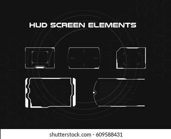 Set of black and white hud screen infographic elements. Head-up display elements for the web and app. Futuristic user interface. Virtual graphic.