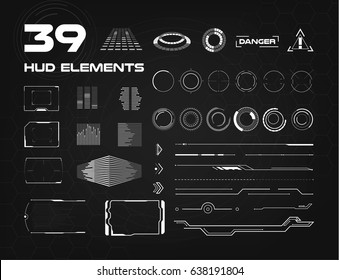 Set of black and white HUD UI elements for business app. Head-up display elements for the web and app. Futuristic user interface. Virtual graphic. Tech and science, analysis theme. Sci-fi crosshair.