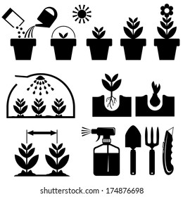 set black and white icons for agrotechnics and growing plants