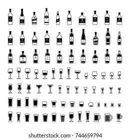 Set of black and white icons bottles and glasses of alcohol. Vector