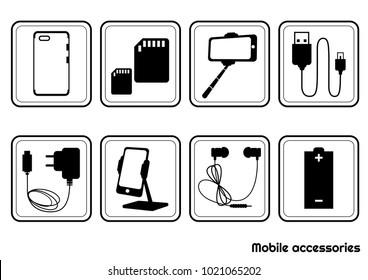 Set black and white icons of mobile accessories. Vector illustration.
