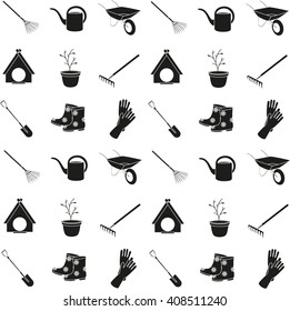 Set of black and white icons on the theme of spring