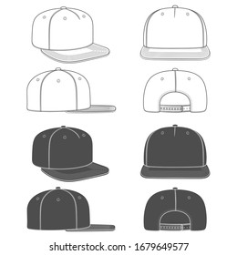 Set of black and white illustration of rapper cap with a flat visor, a snapback. Isolated objects on white background.