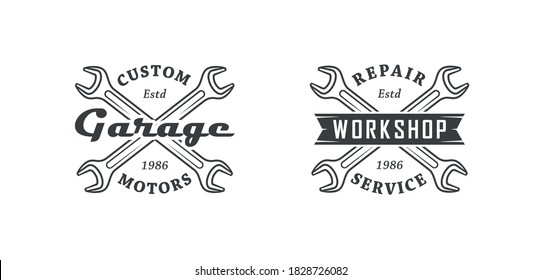 Set of black and white illustrations of crossed wrenches, vintage ribbon and text on a white background. Vector illustration for logos, emblems. Service and repair. Advertising garage, workshop.