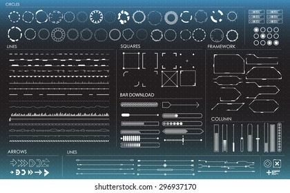 set of black and white infographic elements. Head-up display elements for the web and app. Futuristic user interface. Virtual graphic.