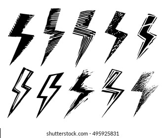 set of black and white lightning
