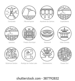 Set of black and white line icons with the most popular tourist spots, places of interest, point of sightseeing in Rio de Janeiro, Brazil