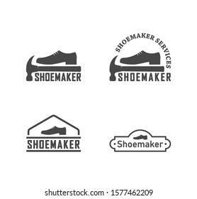 Set of black and white logos of a shoemaker. Vector illustration of shoes, hammer and text on a white background. Professional shoemaker services.