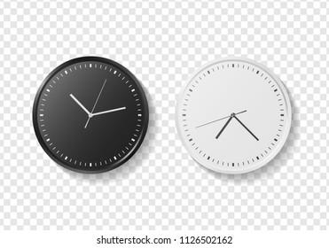 Set of black and white modern quartz wall clock on transparent background