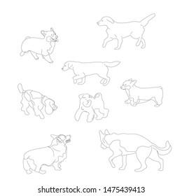 Set of black and white multiple breed dogs, corgi, retriever, shepherd, terrier, spaniel. Isolated on white background. Flat style cartoon stock vector illustration.