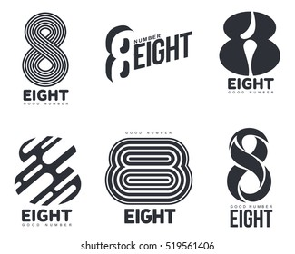 Set of black and white number eight logo templates, vector illustrations isolated on white background. Black and white graphic number eight logo templates - technical, organic, abstract