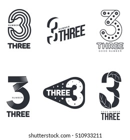 Set of black and white number three logo templates, vector illustrations isolated on white background. Black and white graphic number three logo templates - technical, organic, abstract