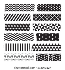 Set of black and white patterned washi tape strips