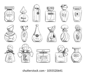 Set with black and white perfume bottles in sketch style isolated on white background. Vector illustration.