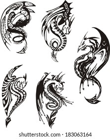 Set of black and white powerful dragons. Vector illustration.