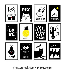 Set of black and white prints and posters for room decor. Baby and kids decoration of walls in modern scandinavian style.