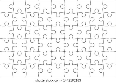 Set of black and white puzzle pieces. Jigsaw grid puzzle 48 pieces. Line mockup - stock vector.