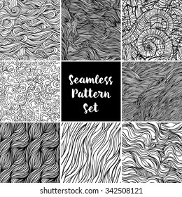 Set of black and white repeating wave backgrounds. Seamless pattern. Isolated vector illustration. Design for fabrics, textiles, paper, wallpaper, web.Coloring book pages for kids and adults.