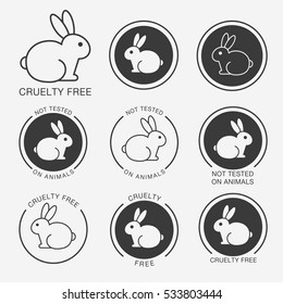 "Set of black and white round icons with a rabbit (bunny) and titles ""Cruelty Free"", Not Tested on Animals"""