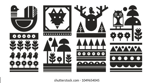 Set of black and white scandinavian prints. Vector monochrome background.