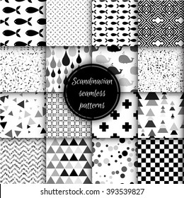 Set of black and white scandinavian seamless patterns. Stock vector.