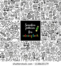 Set of black and white seamless backgrounds for coloring.  Vector collection of endless patterns with food, people and cute monsters.