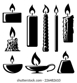Set of black and white silhouette burning candles in different shapes with a spiral  conical  taper  cylindrical and lamp depicting  aromatherapy  spirituality  religion  commemorative and party