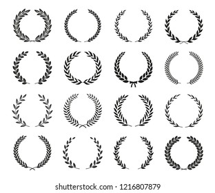Set of black and white silhouette circular laurel foliate wreaths depicting an award, achievement, heraldry, nobility. Can be used as design elements in heraldry on an award certificate manuscript